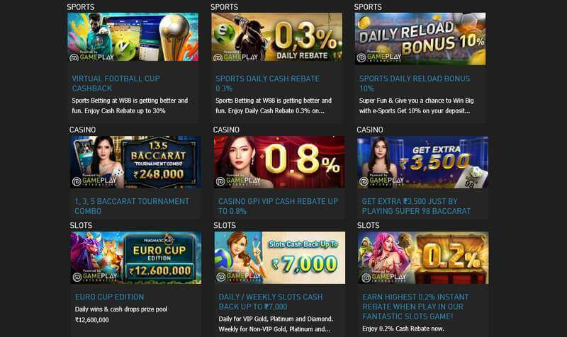 Promotion W88 in Online Casino, Sportsbook, and More