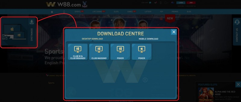 How to Download W88 Android from the Website - Download Centre